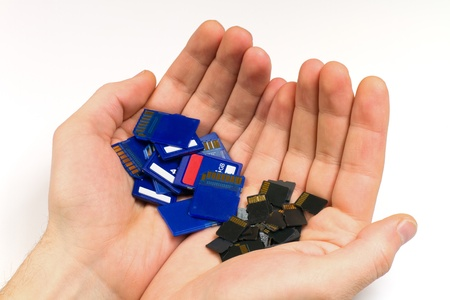 MicroSD and standard SD memory cards - comparison of sizes Stock Photo