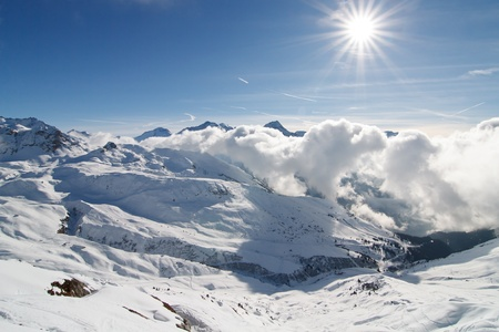 Landscape French Alps ski resort La Plagne photo