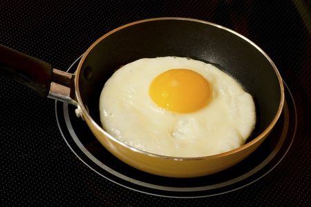 Fried egg one portion on skillet photo