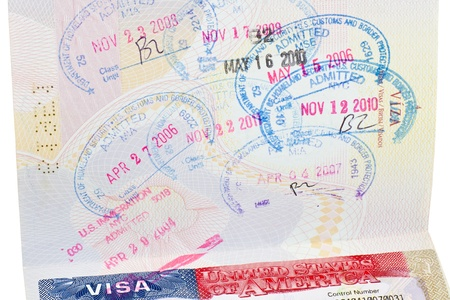 admitted: Passport with an American visa and many stamps Stock Photo