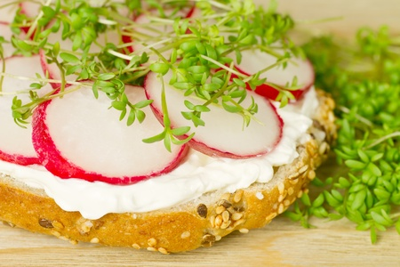 Detail of a simple vegetarian sandvich - cream cheese, radishes and watercress on a wholegrain bun Stock Photo