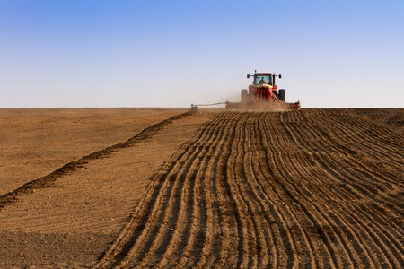 Agriculture tractor sowing seeds and cultivating field in late afternoon