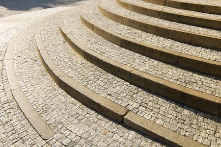 Historic stone granite cobblestone stairway Stock Photo