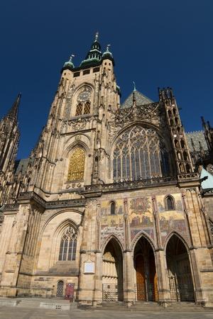 Gothic St  Vius Cathedral in Prague Castle area Stock Photo