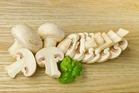 Fresh button  field  mushrooms, focus on front mushrooms Stock Photo