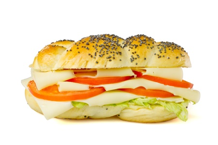 Simple vegetarian sandwich - cheese, tomatoes, lettuce