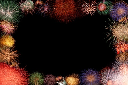 Collage - beautiful colorful fireworks frame, space opening for greeting or invitation photo