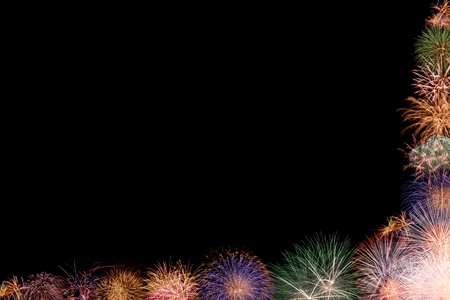 Collage - beautiful colorful fireworks frame, space opening for greeting or invitation