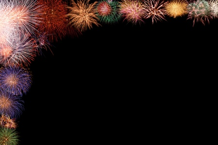 Collage - beautiful colorful fireworks half frame, space opening for greeting or invitation Stock Photo