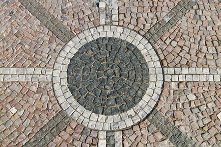 Granite cobblestoned pattern pavement with ornament
