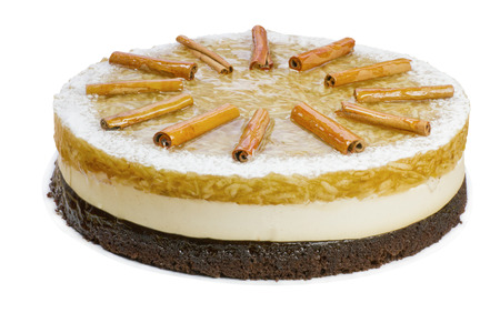 gelatine: Whole apple cake - grated apple in gelatine, light vanilla cream on chocolate pastry, isolated on white, clipping path included