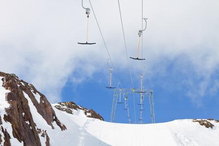 Empty rope tow ski lift