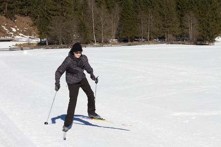 country boy: Teen age boy enjoying cross country skiing in Alp
