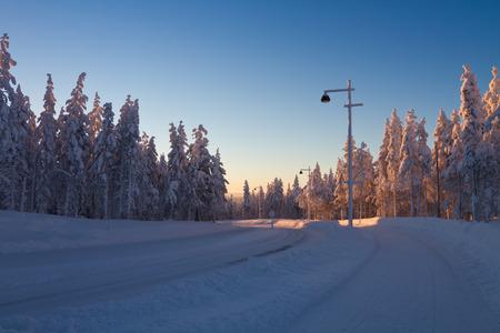 Winter wonderland at sunset around Levi, Lapland; Santa Stock Photo