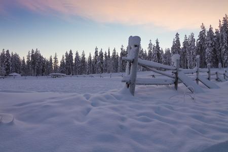 Winter wonderland at sunset around Levi, Finland; Santa