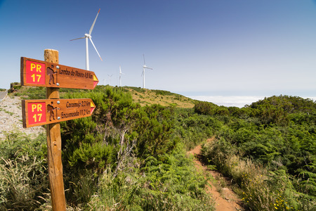 touristic: Touristic signposts and trails on Madeiran plateau Paul da Serra with clouds in a valley and wind turbines in background