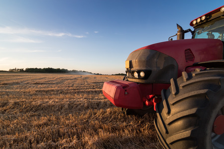 tow tractor: Front detail of an agriculture tractor and tow trailer waiting to be filled at grain campaign at sunset on a stubble field