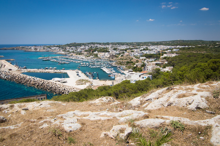 southernmost: View over marina and town Santa Maria di Leuca - southernmost point in the Italian region Puglia