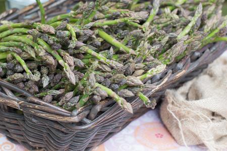 Farmer basket full of green and fresh asparagus