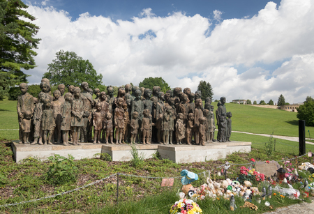 Lidice, Czech Republic - July 21, 2017: Children´s War Victims Monument in Lidice. In memory of 82 children executed by the Nazis on 10 June 1942 and millions of children who died during World War 2 Stok Fotoğraf - 82537244