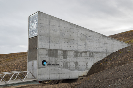 Svalbard, August 2017: Entrance to the Global Seed Vault at Spitsbergen island in Svalbard archipelago. The world's largest seed storage, opened by the Norwegian Government in 2008. Crates of essential food crops seeds are sent from all across the globe a Éditoriale