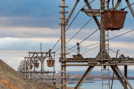 Old and historic cableway (Taubane) for transporting coal from coal mines to harbour in Longyearbyen, Svalbard.