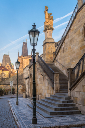 Historic staircase leading from Charles bridge to Kampa park in Prague's Old Town, Czech Republic