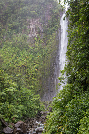 Deuxieme Chute du Carbet - second Carbet waterfall in Guadeloupe, Caribbean. Located in Basse-Terre, there are three waterfalls inside a tropical forest Reklamní fotografie