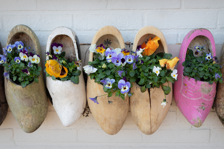 Old wooden shoes mounted on a house wall and used as flower pots for colorful pansies. Nice handicraft idea for an original home decoration 写真素材