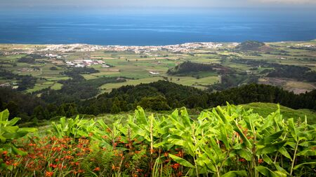 Scenic view of Ribeira Grande - the second biggest town in Sao Miguel island, Azores, Portugal, seen from Bela Vista viewpoint. Stok Fotoğraf