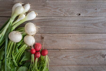 Bunch of white turnips, red radishes and spring onions on wooden table.  Top view of fresh and healty raw vegetables with green leaves