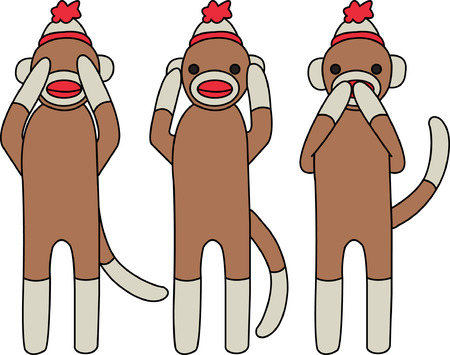 monkies: Sock monkeys are an old time toy but these guys are not exactly your typical sock monkies.  They have a message - hear no evil, see no evil, speak no evil!  Isnt that clever
