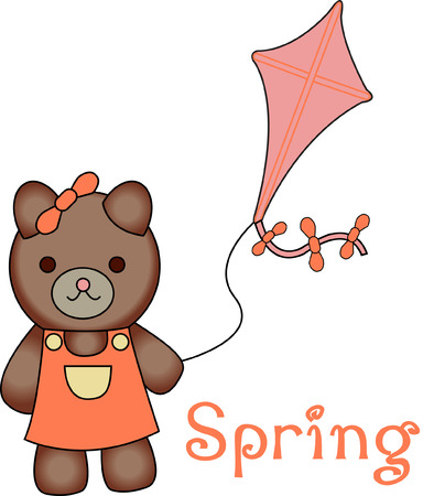 甘いものクマにこの凧は、遊び相手を探しています。 彼女は子供の摩耗にかわいいものでは絶対に! 好きな長い時間に普通の衣服になります。  イラスト・ベクター素材