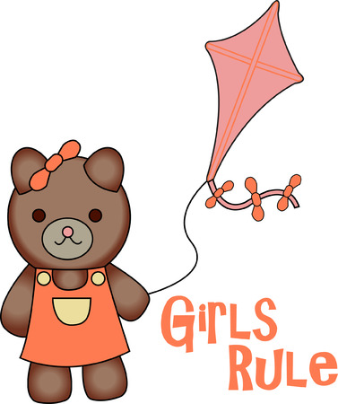 ordinary: This kite flying sweetie bear is looking for a playmate.  She is absolutely the cutest thing on kid wear!  Turns an ordinary garment into a long time favorite.