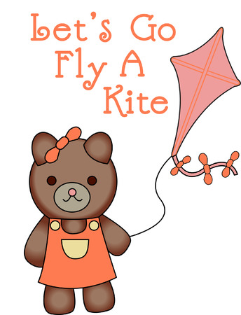 playmate: This kite flying sweetie bear is looking for a playmate.  She is absolutely the cutest thing on kid wear!  Turns an ordinary garment into a long time favorite.