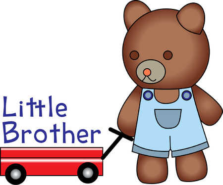 apparel part: A little teddy pulling his wagon is so cute it just tugs at your heart!  Of course it is cute on kid apparel but try it as a part of your nursery dcor or to decorate a baby lovie! Illustration