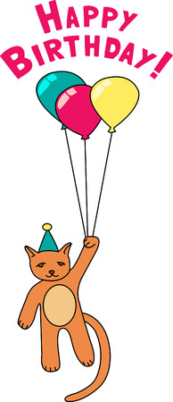Its party time and a floating party cat is ready to celebrate with you!  This is such fun on a birthday shirt - unforgettable!