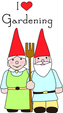 A gnome couple watch over their garden with a not so fierce pitchfork. Use them to add a cheery touch of happiness to your stitching.