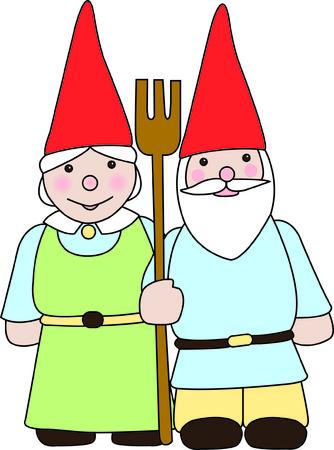 Een kabouter echtpaar waken over hun tuin met een niet zo hevig hooivork. Gebruik ze om een vrolijke aanraking van geluk toe te voegen aan uw stiksels. Stock Illustratie