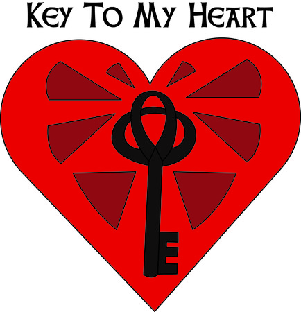 door lock love: A key to the heart.  Love must be in the air.  Easy to stitch for a stunning result. Illustration