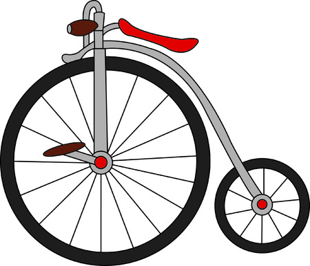 wheeled: A throw back to days long ago - a big wheeled bike.  it is a fun decoration for any occasion and definitely adds a conversation piece. Illustration