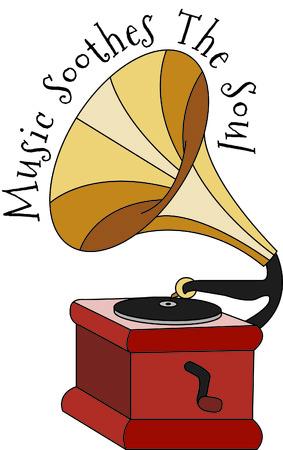 좋아하는 DJ, 음악 버프의 서류 가방 또는 작업 셔츠 드레스. 이 빈티지 victrola 레코드 비닐의 시간에 감상 후퇴입니다! 일러스트