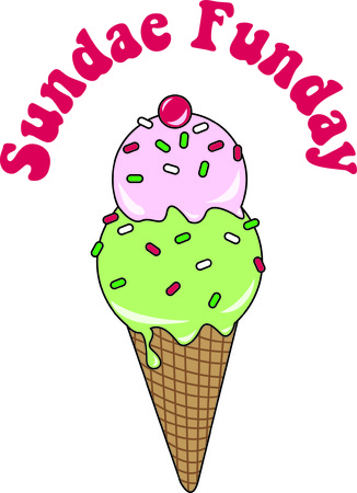 sherbet: Its always time for a yummy treat like this ice cream cone.  Its tasty colors and sprinkles create an awesome decoration.