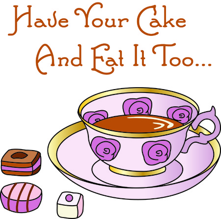 furnishing: Is there a better way to decorate your tea towels than with tea and cakes  Only better with the addition of this lovely tea cup. Illustration