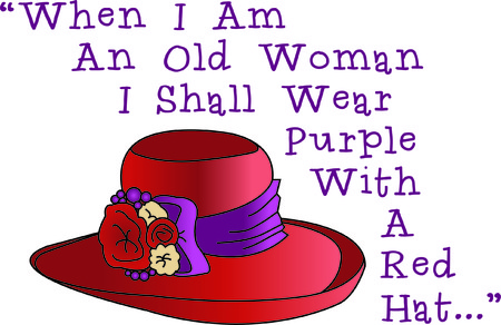 red hat: Get social wear a red hat, purple dress and stitch this hat on a bag!  Decorates a lovely bag for that milestone birthday gift!