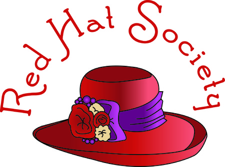 Get social wear a red hat, purple dress and stitch this hat on a bag!  Decorates a lovely bag for that milestone birthday gift!