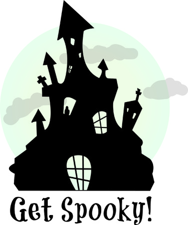 frightening: What spooks live therein  Imaginations run wild - its Halloween night!  Stitch this frightening design on your gobblins trick or treat bag!
