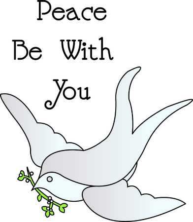 Our dove with an olive branch is a lovely symbol of peace and tranquility.  Fill stitches with satin edges make this design pop off the fabric. Illustration