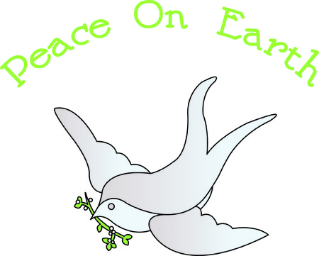 tranquility: Our dove with an olive branch is a lovely symbol of peace and tranquility.  Fill stitches with satin edges make this design pop off the fabric. Illustration