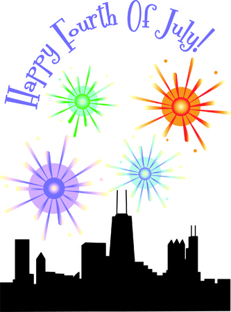 windy day: Chicago knows how to throw a celebration!  These fireworks over Chicago illuminate the skyline of this amazing city...for any celebration. Illustration